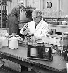 Harriette Chick, working in her water treatment chemical laboratory