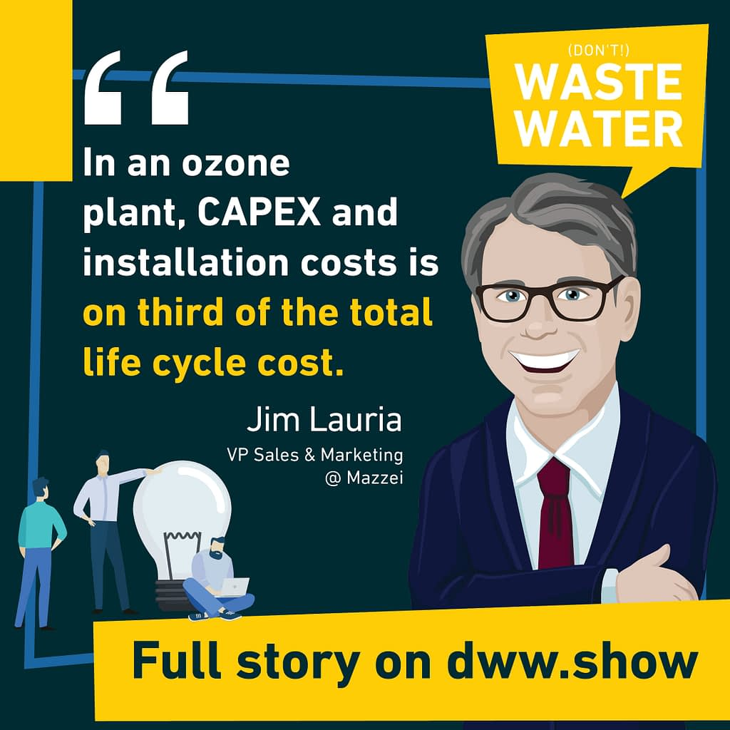 CAPEX and Installation Costs are one third of an ozone plant total life cycle costs. Design your ozone diffusion system right advises Jim Lauria!