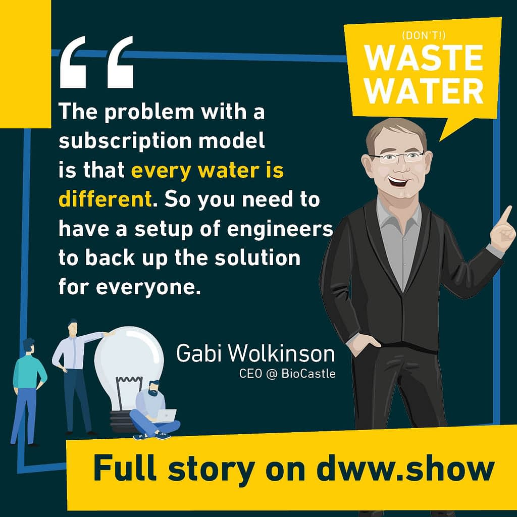 The problem with a subscription model is that every water is different. So you need to have a setup of engineers to back up the solution for everyone. Gabi Wolkinson, CEO of BioCastle.