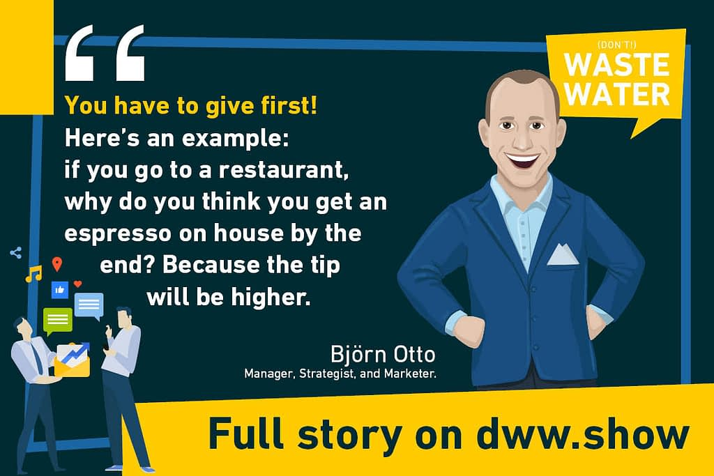 Björn Otto on water marketing - comparing with a restaurant's tip