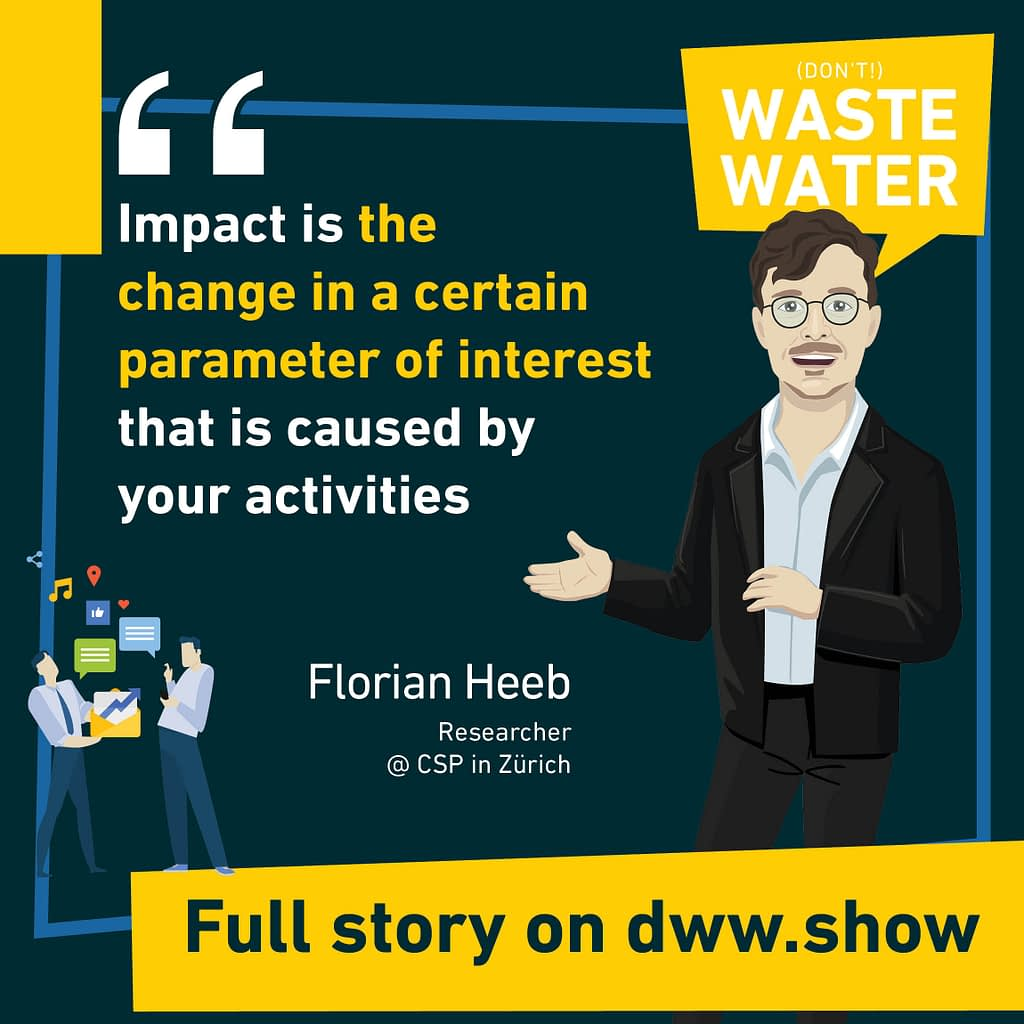 Impact is the change in a certain parameter of interest that is caused by your activities - defines Florian Heeb
