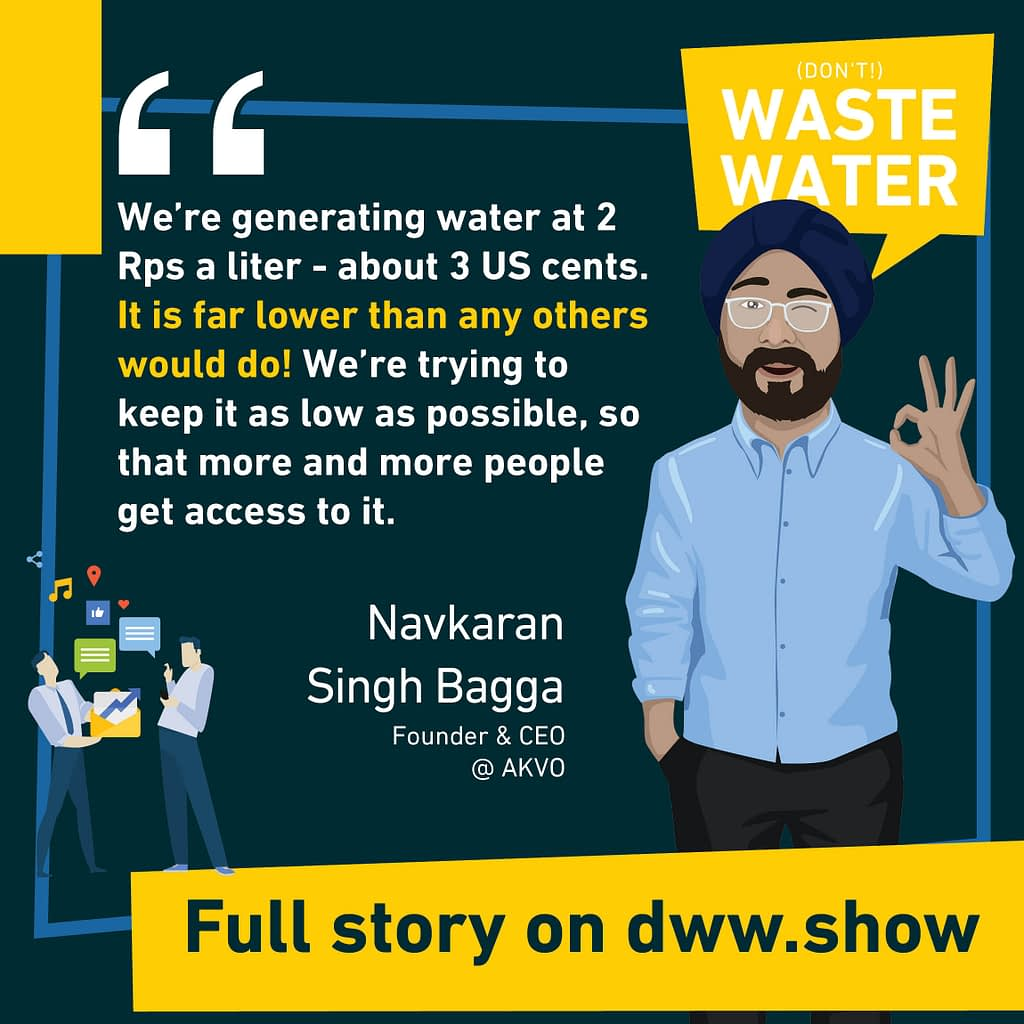 Water from Air costs 2 rupees - or 3 US cents - when produced with AKVO