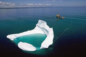 An actual Iceberg being towed to protect Oil Rigs