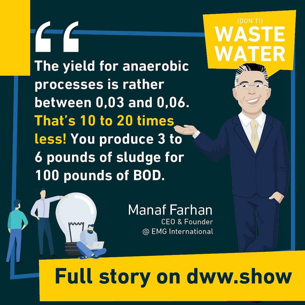 The yield for anaerobic processes (and anaerobic digestion) is rather between 0.03 and 0.06. That's 10 to 20 times less! You produce 3 to 6 pounds of sludge for 100 pounds of BOD
