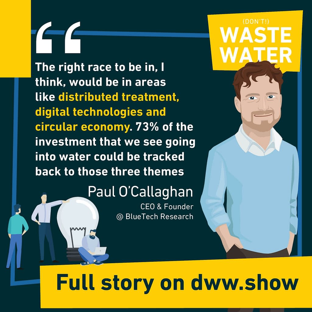 73% of the investments in Water Innovation can be traced back to distributed treatments, digital technologies and circular economy. Paul O'Callaghan, CEO of BlueTech Research.
