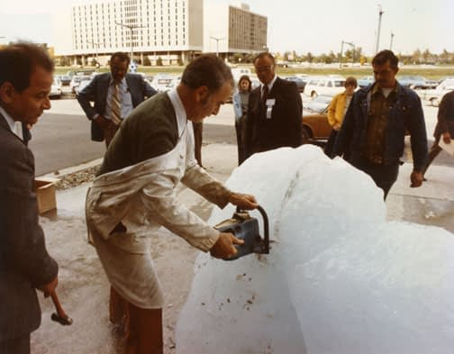 The world's most expensive cocktail coolers, served at the Iceberg Towing and Iceberg Water conference in Iowa in 1977