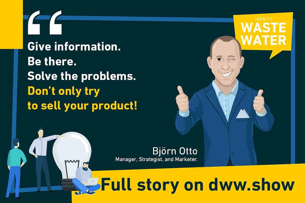 Björn Otto - Quote from the don't Waste Water podcast on water marketing