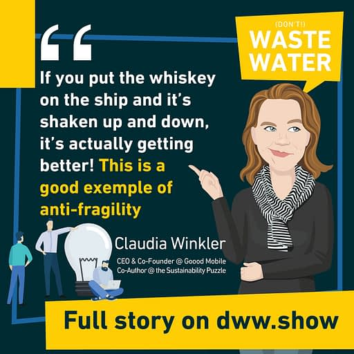 If you put a whiskey on a ship, the shaking up and down makes it better. A metaphor for system thinking, anti-fragility and resilience for Claudia Winkler, author of the Sustainability Puzzle book.